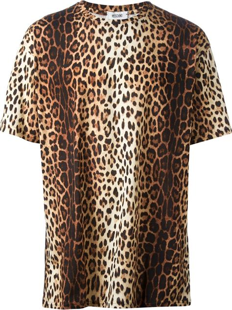 moschino leopard print t shirt in brown for lyst