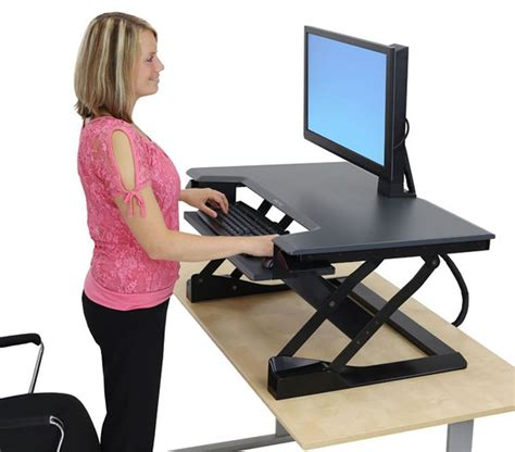 sit and stand desk ergotron workfit t standing desk workstation ergonomic