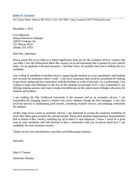 Entry Level Academic Advisor Cover Letter Sample   Cover