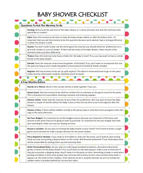 baby shower checklist template baby shower planner template pictures to pin on