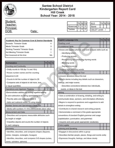3rd grade report card template assessment ccss report cards and eld addendums