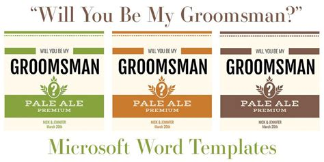 free groomsman card template free microsoft word templates for bottles quot will you