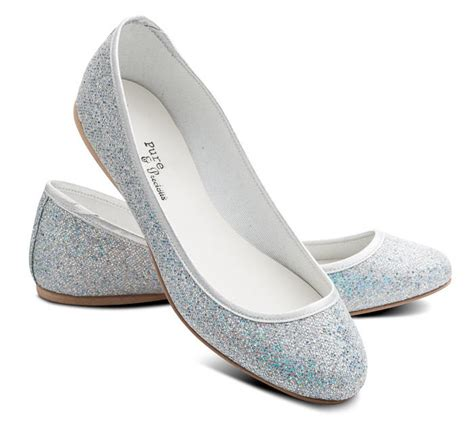 shoes silver flats silver glitter wedding bridesmaid