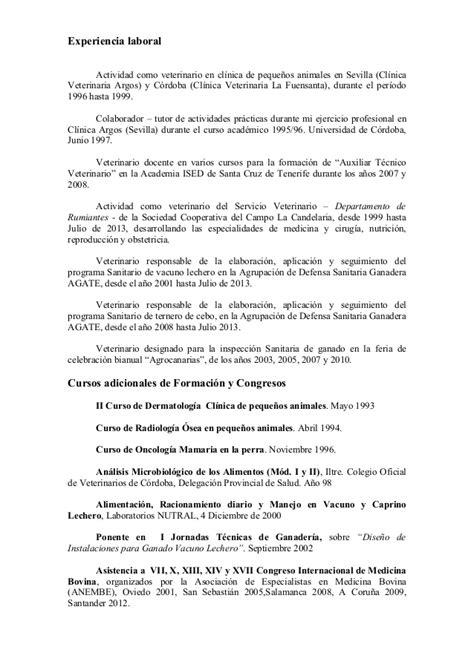 Modelo Curriculum Vitae Veterinario Curriculum Vitae Jose Redondo