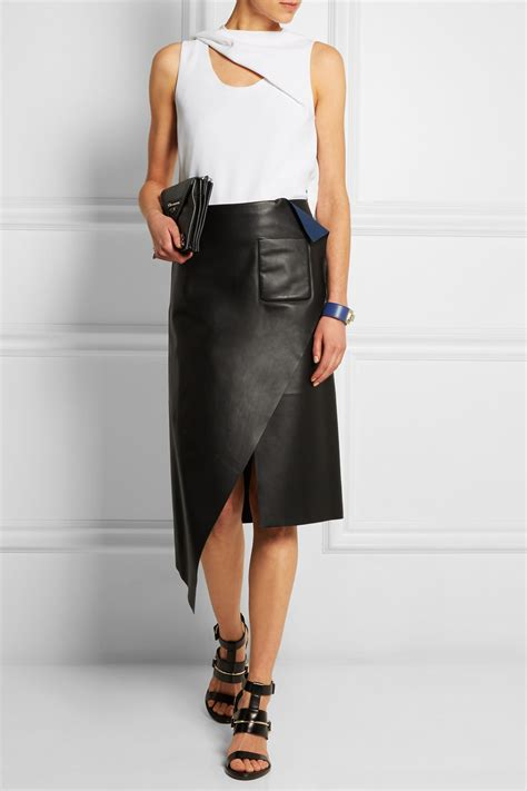 balenciaga asymmetric leather skirt in black lyst