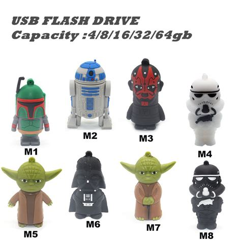 Wars Darth Vader 8 Gb Usb Memory Stick Flash Pen Drive usb wars pendrive 16 gb usb flash drive 32 gb r2d2 usb key darth vader memory stick yoda