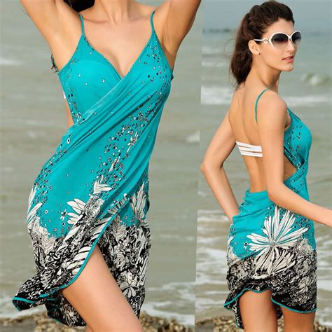 2in1 Swimsuit summer bathing suit sarong swimwear cover up dress ebay
