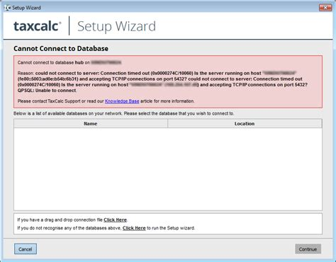 details not found on database connection details not found cannot connect to database knowledge base taxcalc