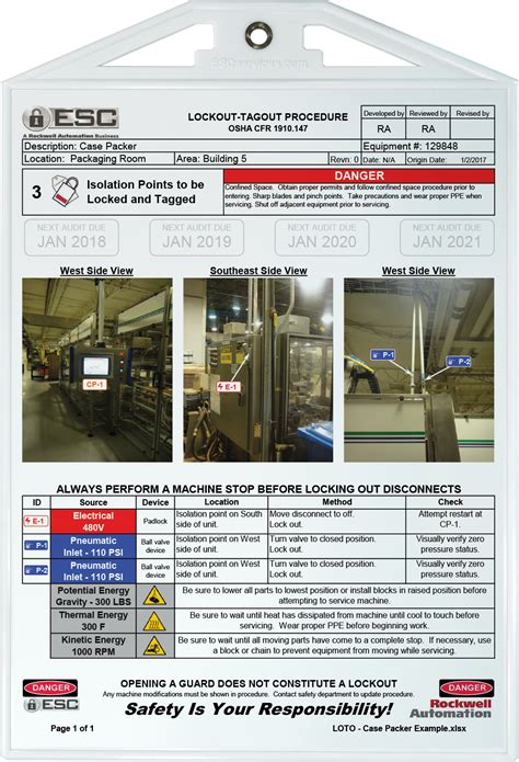 Lockout Tagout Procedure Exles Lock Out Tag Out Procedures Template