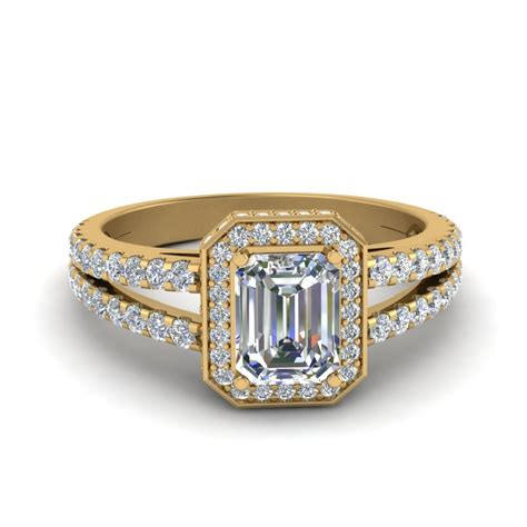 1 5 carat emerald cut halo split engagement ring with in 14k yellow gold fascinating