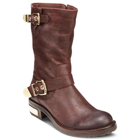 vince camuto winchell motorcycle booties in brown molton