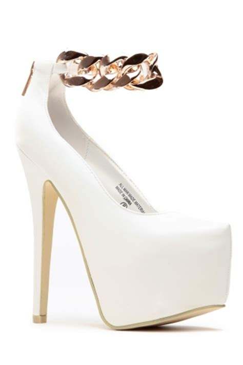 gold chain ankle white almond toe pumps cicihot