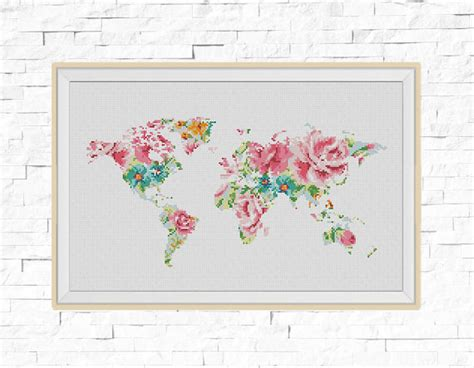 Map File Stitch bogo free world map cross stitch pattern floral world map silhouette flowers counted cross