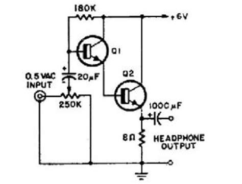 transistor headphone lifier schematic simple 2 transistor headphone lifier 171 audio circuit