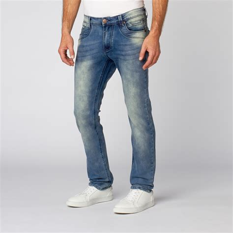 J006 Ripped Denim Washed Fade Blue slim tapered washed denim slight fade blue 30wx32l recess denim touch of modern