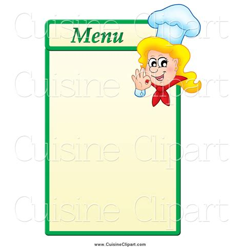 Cuisine Clipart Of A Blond Female Chef Gesturing Ok On A Green And Yellow Menu Board By Visekart Make Your Own Menu Template Free