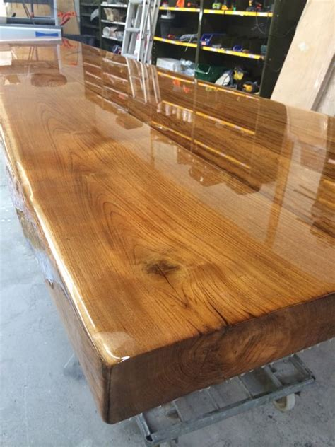 diy wood table top ideas oak table top with transparent epoxy woodworking ideas