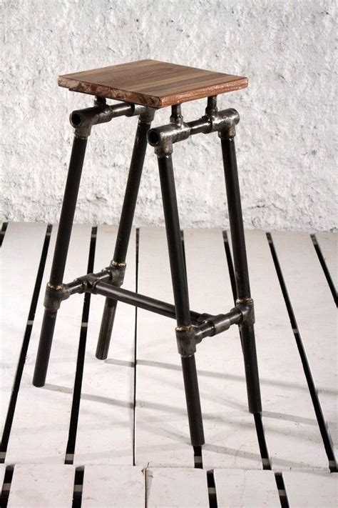 Iron Pipe Bar Stool by Steunk Industrial Upcycled Pipe Bar Stool Black Ideas