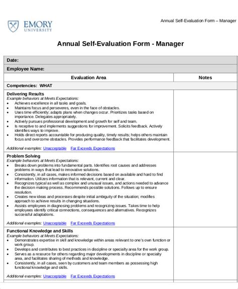 self assessment templates employees 7 employee self assessment sles exles in word pdf