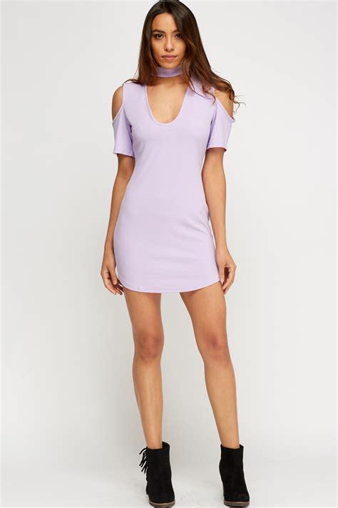 Dress Kaitlyn Mini Dress Polos Dress Choker Dress Sabrina Sn Cut Out Shoulder Choker Dress Lilac Just 163 5
