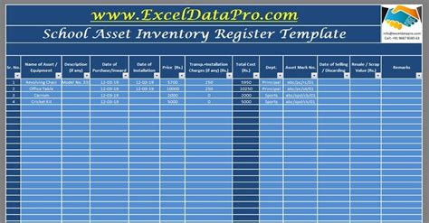 school assets inventory  issuance register excel template exceldatapro