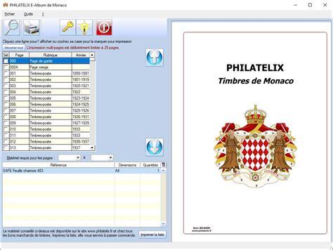 philatelix e album impression de philatelix logiciels pour timbres de monaco andorre dom tom et colonies