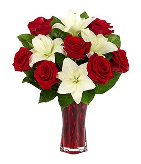 White Lily Vase Classic Red Rose Amp White Lily Bouquet At From You Flowers