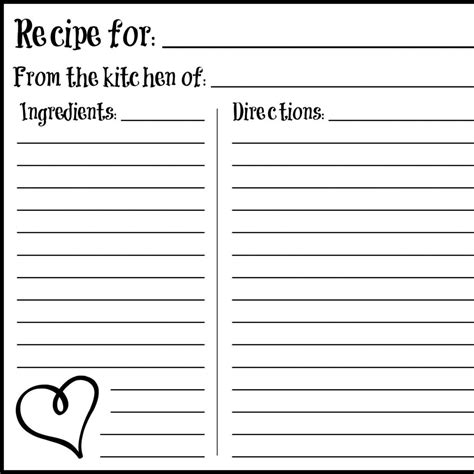 recipe template printable daily free printable s day 4 215 6 recipe card