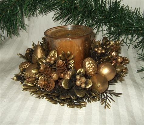 vintage plastic flowers christmas candle ring candle wreath