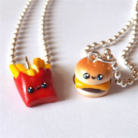 burger and fries best friend necklace bff charm necklaces