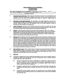 Bill Of Sale Agreement Template by Sle Equipment Bill Of Sale 6 Documents In Pdf Word