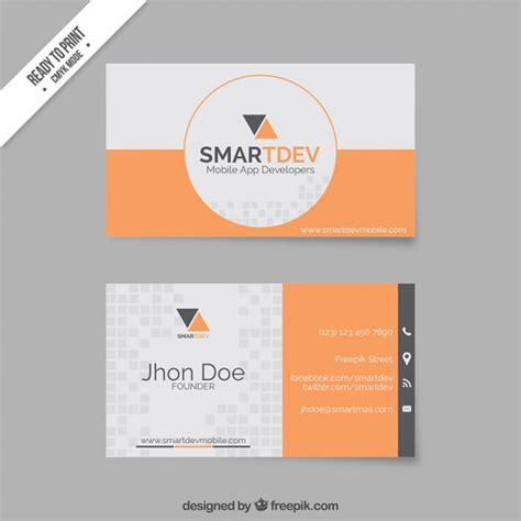 Business Card Template Grey by Business Card Template In Orange And Grey Tones Vector
