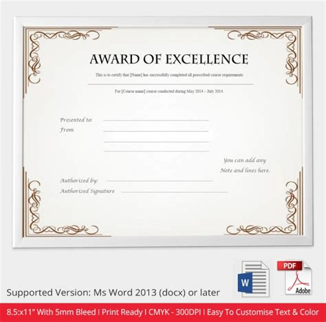 free awards certificate template 30 free printable certificate templates to