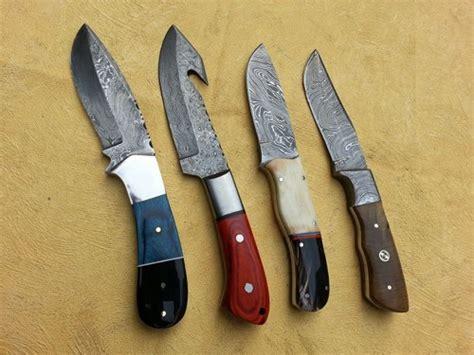 Handmade Skinning Knives - custom made damascus skinning knives lot of 4