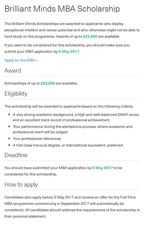 Imperial College Mba Application Deadlines by Imperial College Brilliant Minds Mba Scholarship In Uk