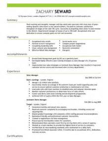 sales manager cv exle for sales livecareer