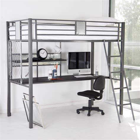 metal loft bed with desk underneath grey metal frame loft bed with coumputer desk underneath