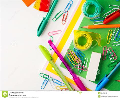 colorful office school supplies royalty free stock image stationery colorful school writing tools accessories pens