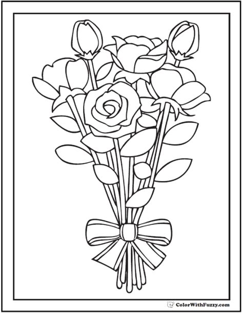 73 Rose Coloring Pages Customize Pdf Printables Bouquet Roses Coloring Pages