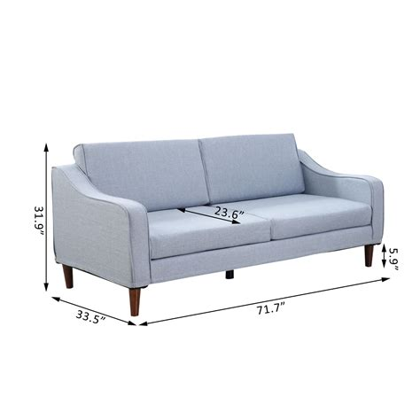 home goods loveseat homcom three seat sofa light blue sofas furniture