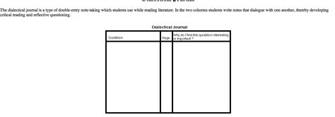 printable dialectical journal stron biz dialectical journal template