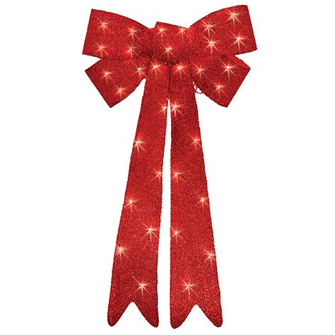 trim a home 174 red lighted tinsel bow christmas decoration