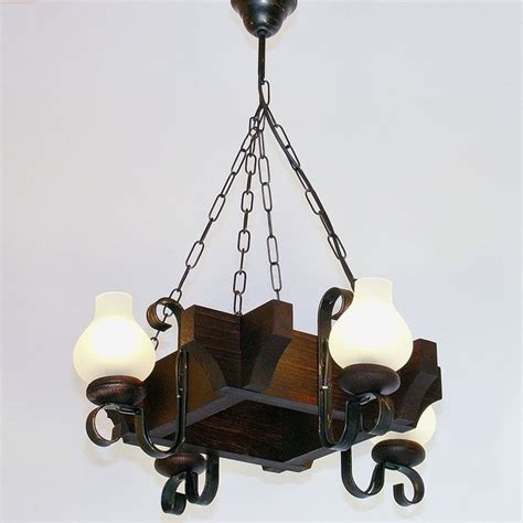 Wrought Iron Chandeliers Rustic Chandelier Four Wrought Iron Arms Brown Wood White Glass L Shades Rustic