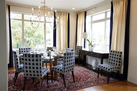 Oly Chandelier Navy Blue Dining Chairs Transitional Dining Room