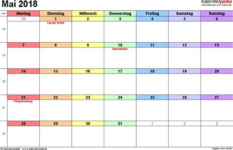 Mai 2018 Kalender Kalender Mai 2018 Als Excel Vorlagen