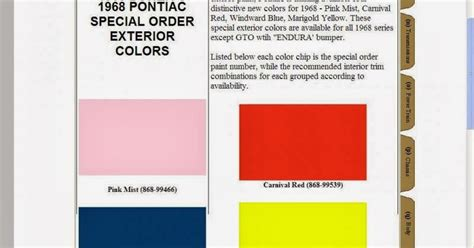 phscollectorcarworld 1968 pontiac special order paint codes