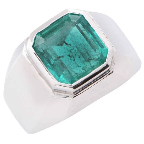 carat natural emerald cut emerald white gold mens ring