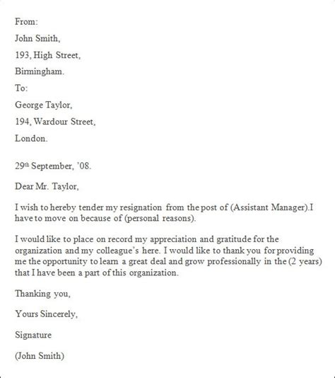 professional resignation letter templates