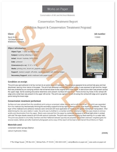 Conservation Report Template Works On Paper Conservation Of Art And Archival Material