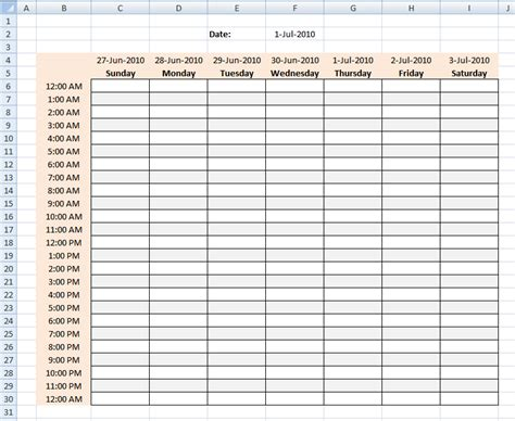 daily hourly schedule template in excel format analysis